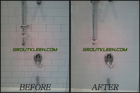 Shower regrout before and after